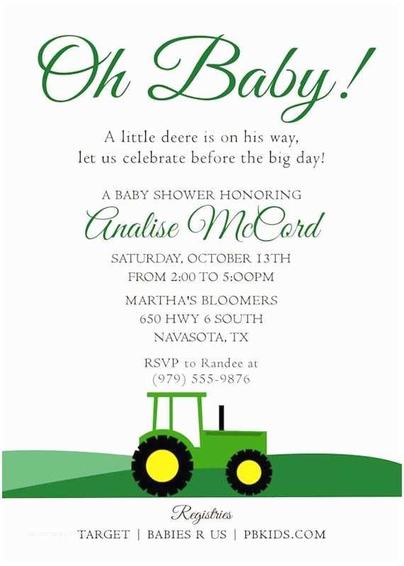 John Deere Baby Shower Invitations Printable Baby Shower Invitation Tractor theme