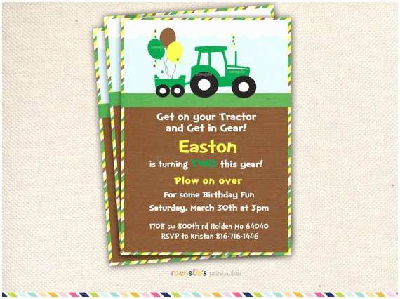 John Deere Birthday Invitations Green Tractor Birthday Party Invite and Thank You Cards