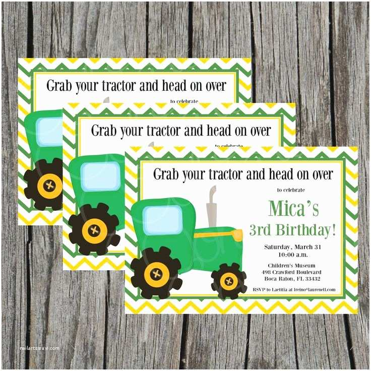 John Deere Birthday Invitations Chevron Tractor Digital Printable Invitation