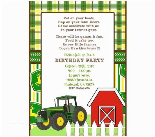 John Deere Birthday Invitations John Deere Invitation Templates