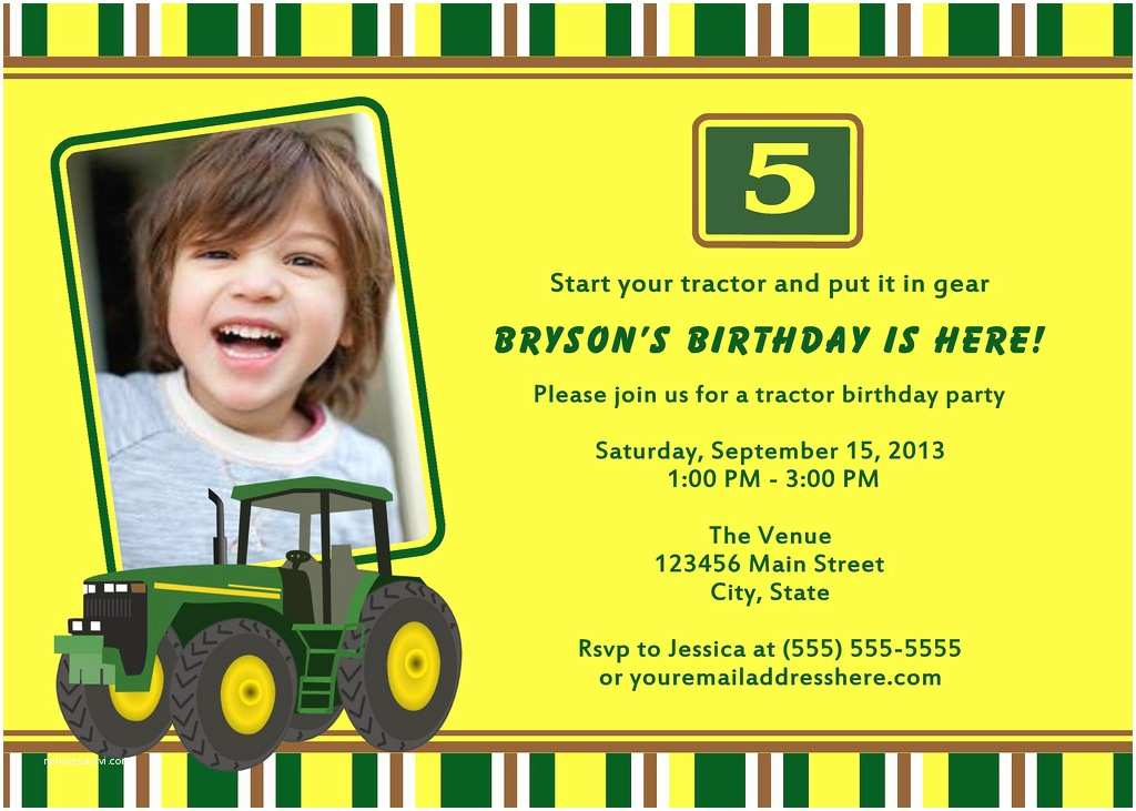 John Deere Birthday Invitations Printable Tractor Party Invitation