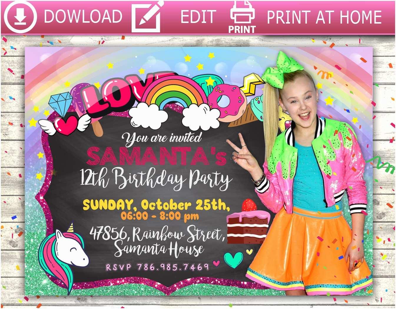 Jojo Siwa Party Invitations Jojo Invitation Jojo Jojo Siwa Jojo Party Jojo Birthday