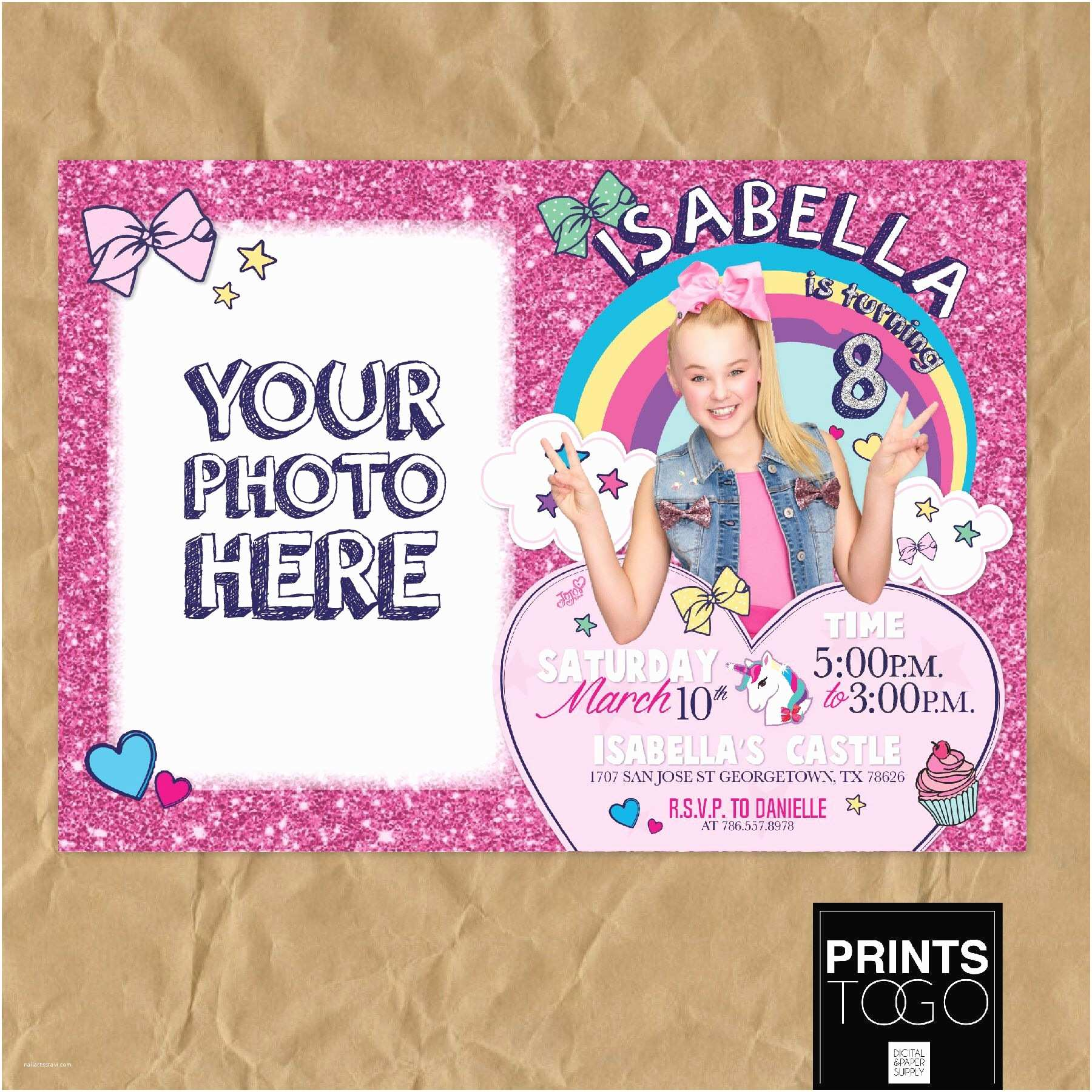Jojo Siwa Party Invitations Jojo Siwa Birthday Invitation Jojo Siwa Party Jojo Siwa
