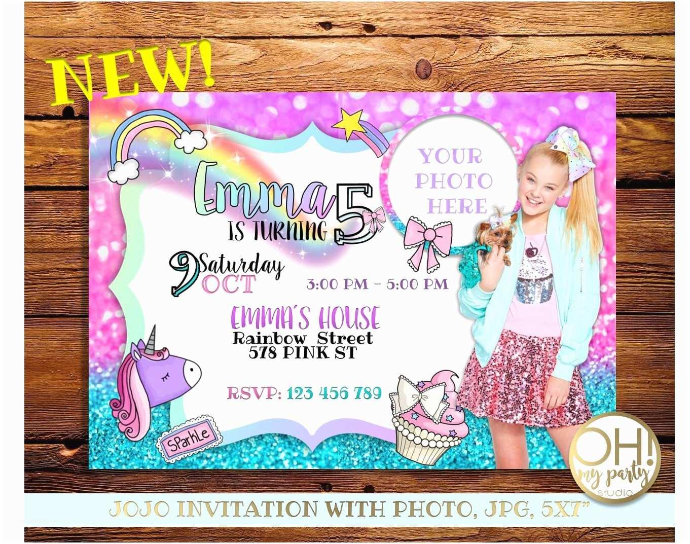 Jojo Siwa Party Invitations Jojo Siwa Birthday Invitation with Photo Jojo Siwa Party