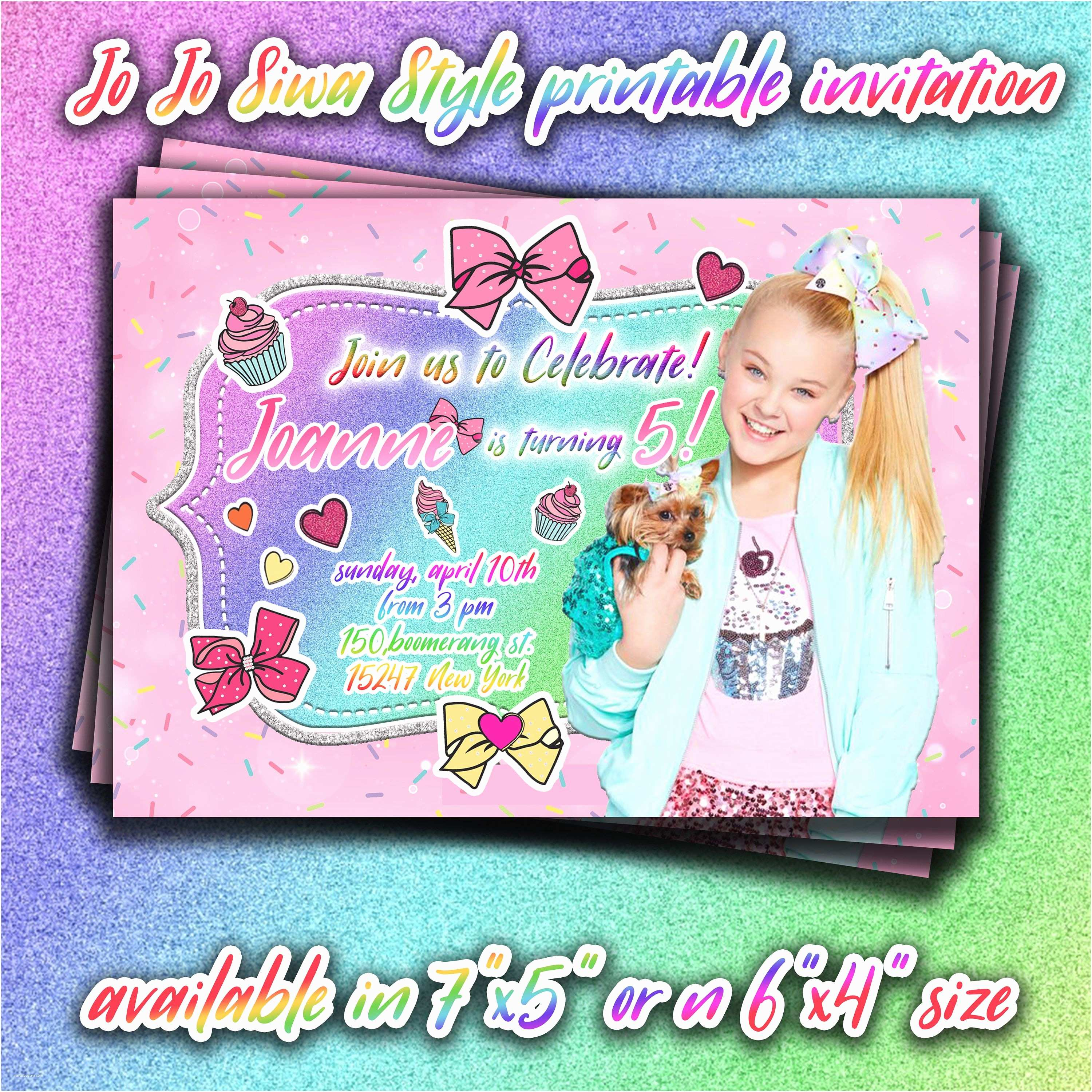 Jojo Siwa Party Invitations Jojo Siwa Birthday Printable Invitation Jojo Siwa