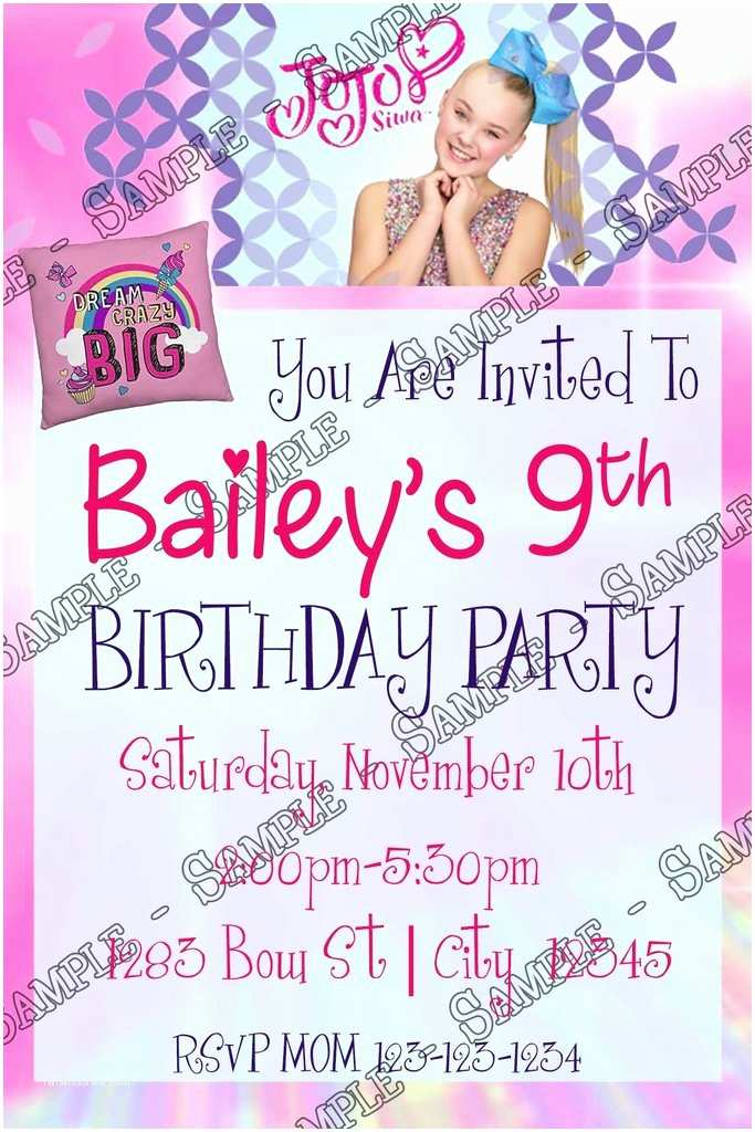Jojo Siwa Party Invitations Novel Concept Designs Jojo Siwa Birthday Party