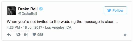 Josh Doesnt Invite Drake to Wedding Drake Bell Wasn T Invited to Josh S Wedding and Has Taken