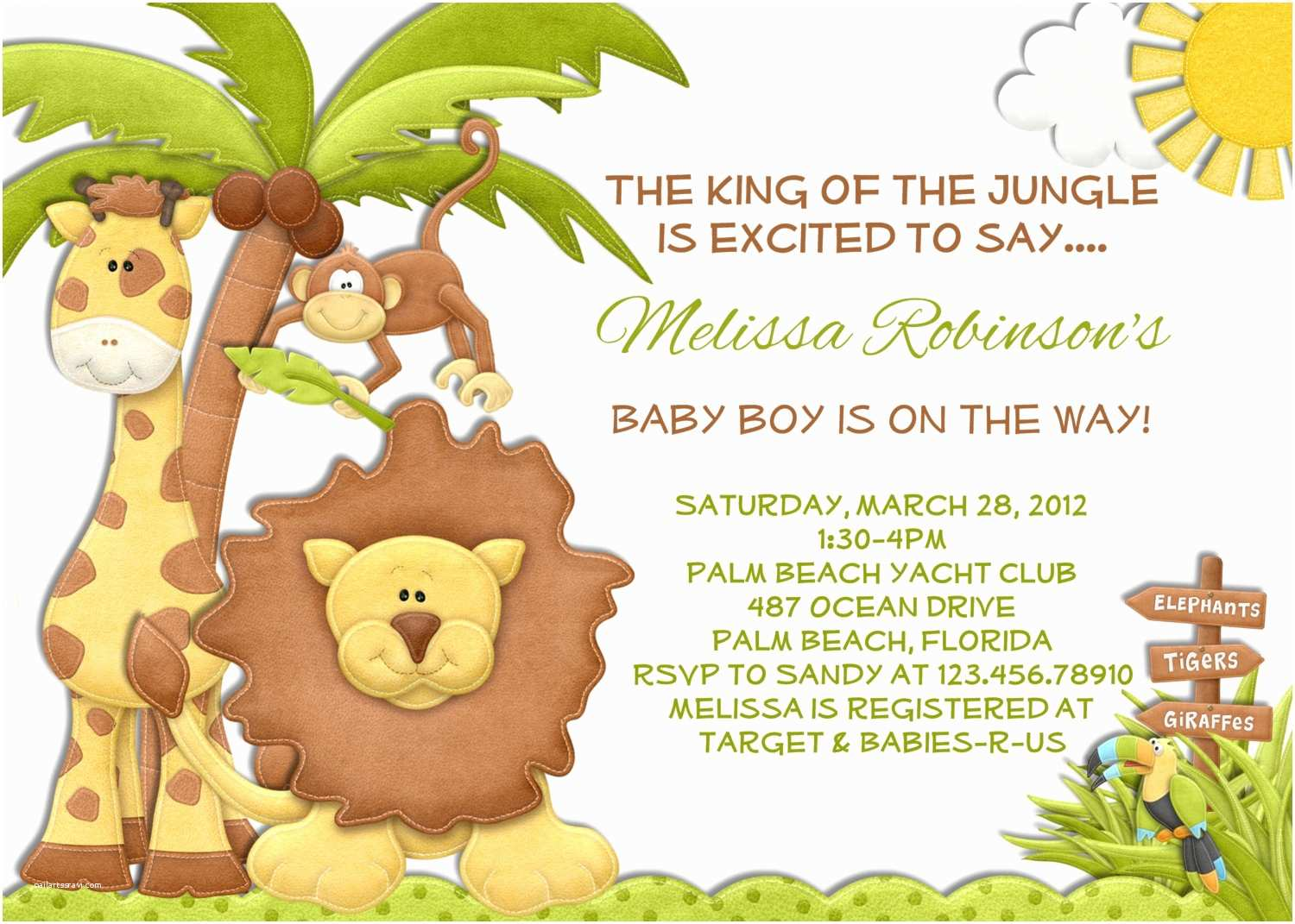jungle baby shower invitation lion