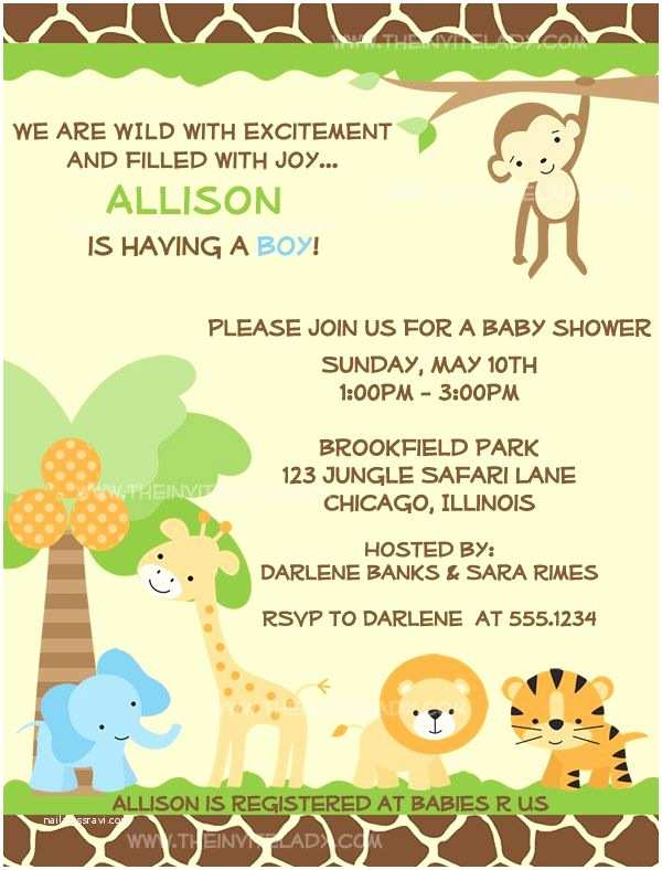 Jungle Baby Shower Invitations Jungle Baby Shower Invitations Safari Animals Boys
