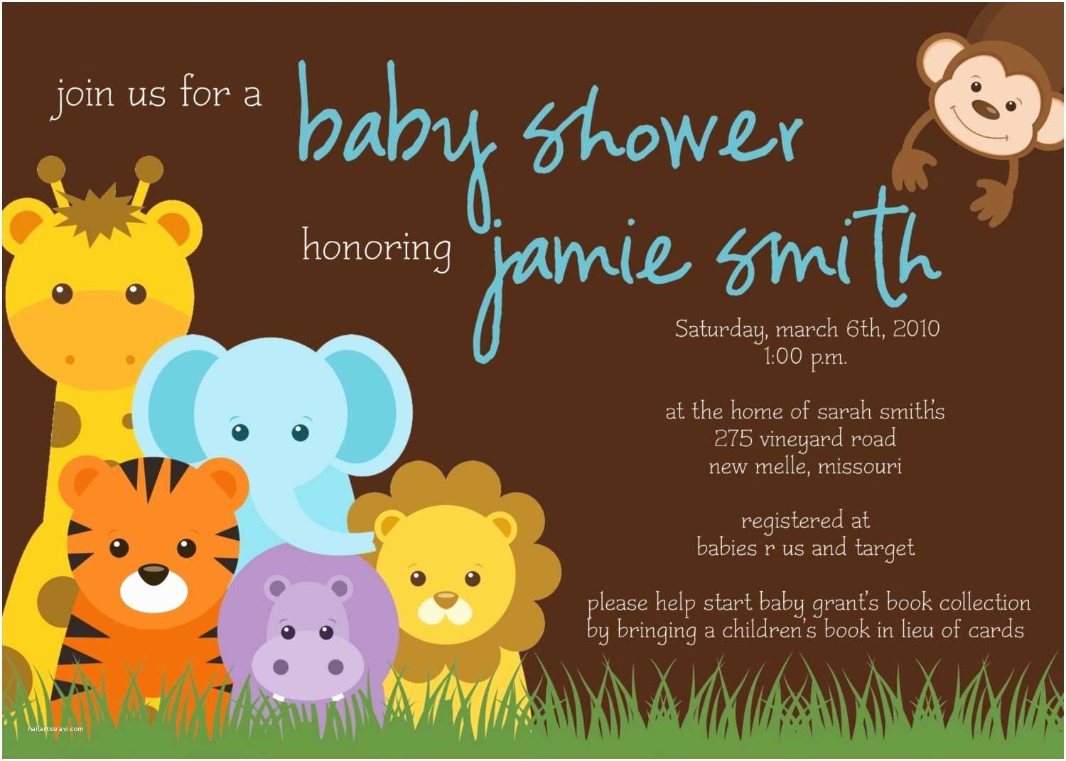Jungle Baby Shower Invitations Jungle theme Baby Shower Invitation