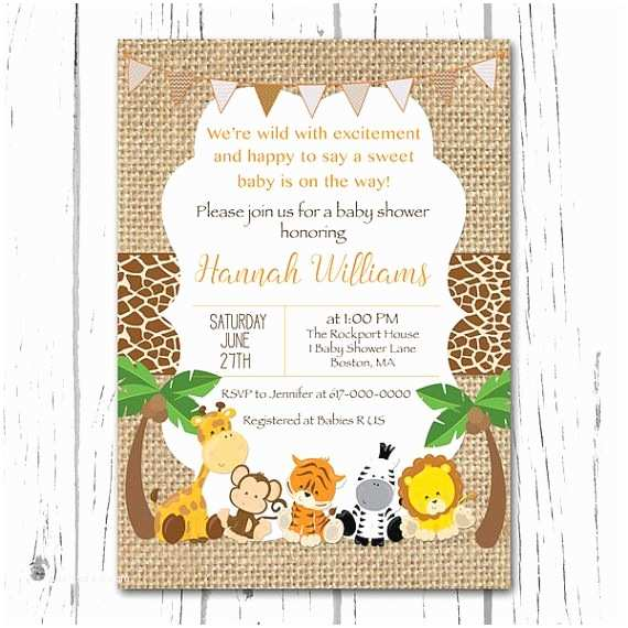 Jungle Baby Shower Invitations Safari Baby Shower Invitation Burlap Baby Animal Jungle