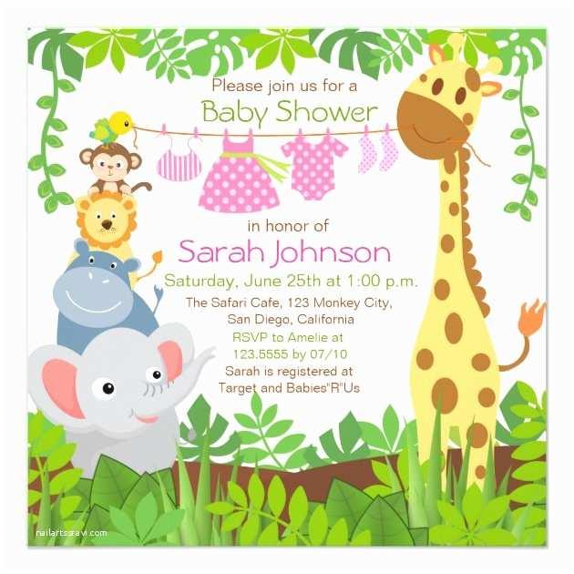 Jungle theme Baby Shower Invitations Baby Shower Invitation
