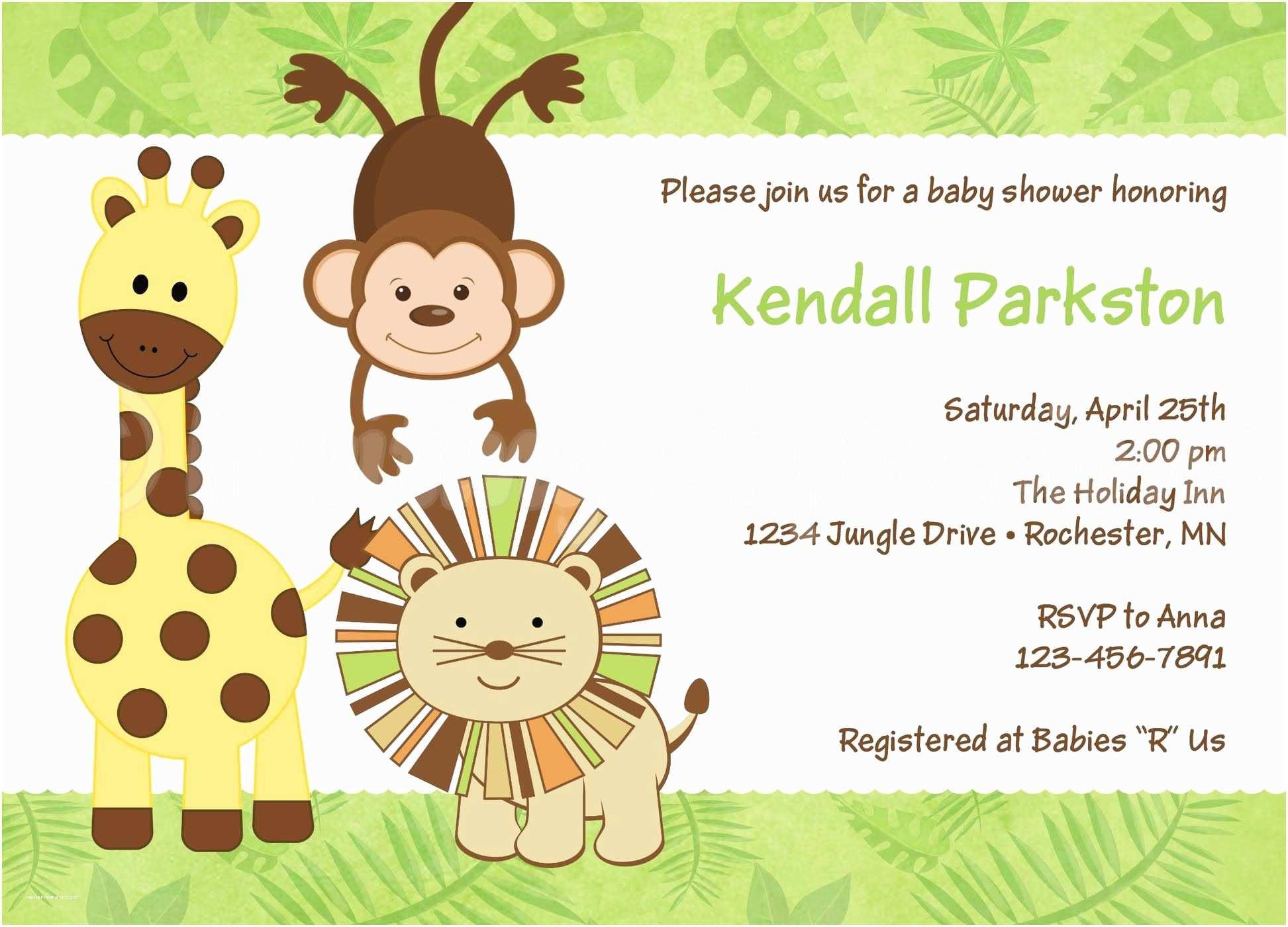 Jungle theme Baby Shower Invitations theme Blank Baby Shower Invitations Jungle