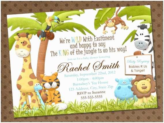Jungle Themed Baby Shower Invitations Safari Theme Baby Shower