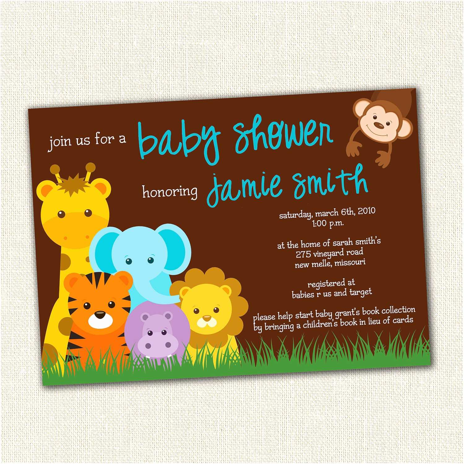 Jungle themed Baby Shower Invitations Baby Shower Invitations Jungle theme