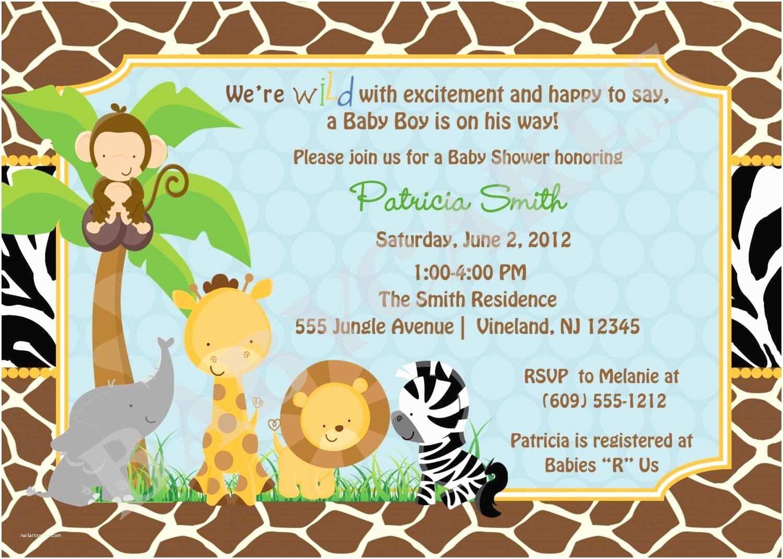 Jungle themed Baby Shower Invitations Baby Shower Invitations Safari theme Wording