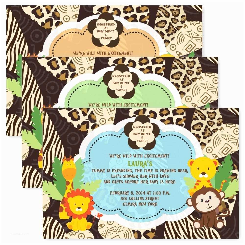 Jungle themed Baby Shower Invitations Birthday Invitations Jungle themed 1st Birthday