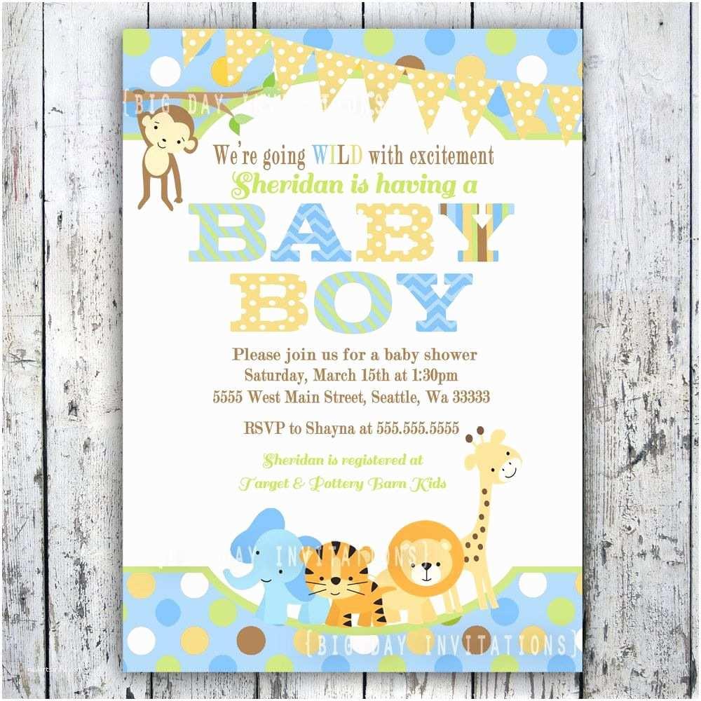 Jungle themed Baby Shower Invitations Boy Baby Shower Invitations