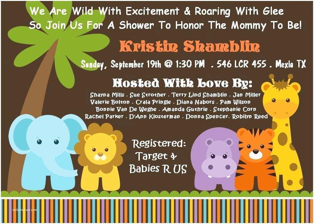 Jungle themed Baby Shower Invitations Cartoon Safari Jungle theme Baby Shower Invitations