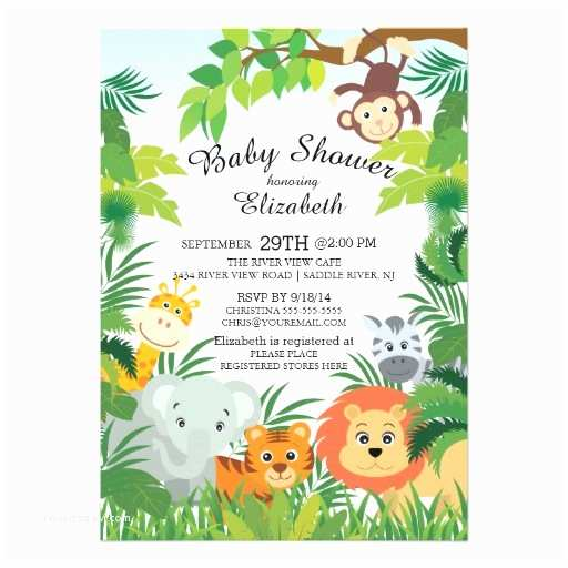 Jungle themed Baby Shower Invitations Cute Jungle Safari Baby Shower Invitations