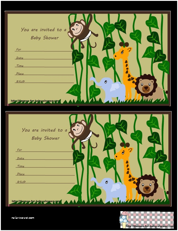 Jungle themed Baby Shower Invitations Free Printable Jungle Baby Shower Invitations