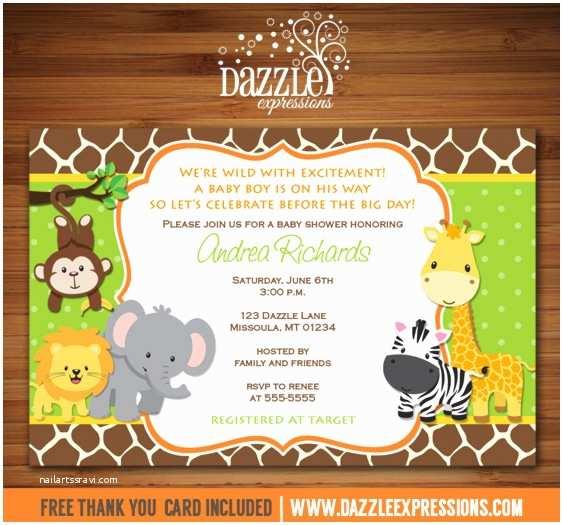 Jungle themed Baby Shower Invitations Jungle Baby Shower Invitation Giraffe Printable
