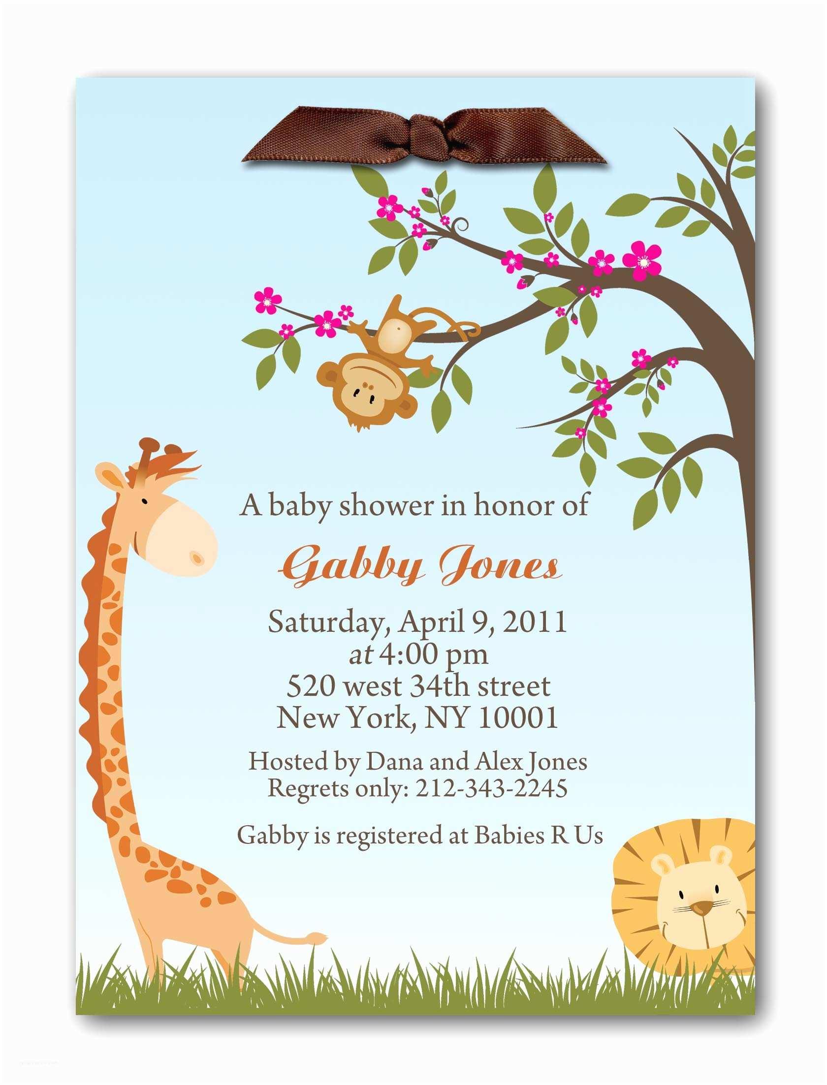Jungle themed Baby Shower Invitations Jungle Baby Shower Invitations Image