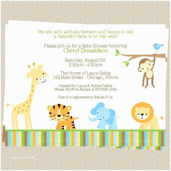 Jungle themed Baby Shower Invitations Jungle Baby Shower Invitations Zoo or Safari by