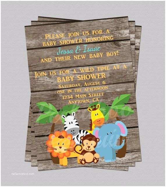 Jungle themed Baby Shower Invitations Jungle Baby Shower Invites Zoo Animal Baby by