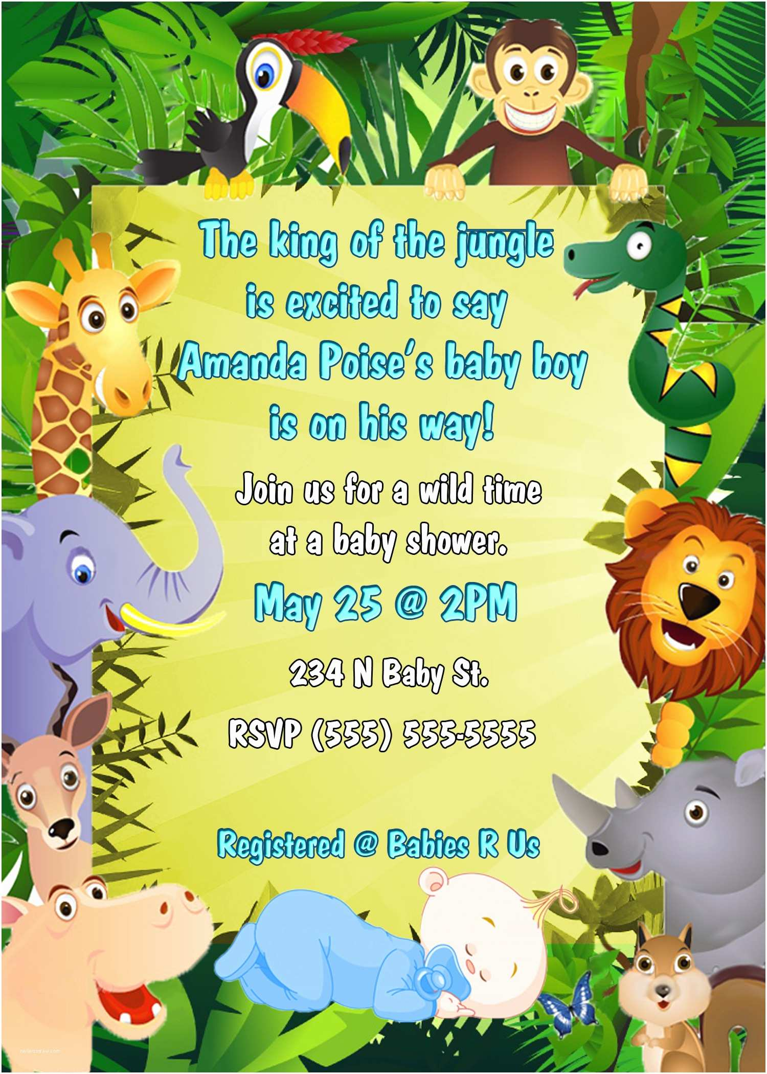Jungle themed Baby Shower Invitations Jungle theme Baby Shower Invitation Wording