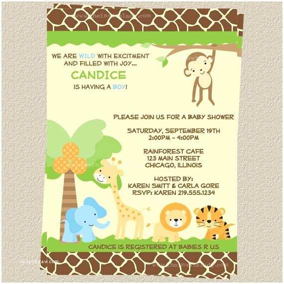 Jungle themed Baby Shower Invitations Jungle themed Baby Shower Invitations