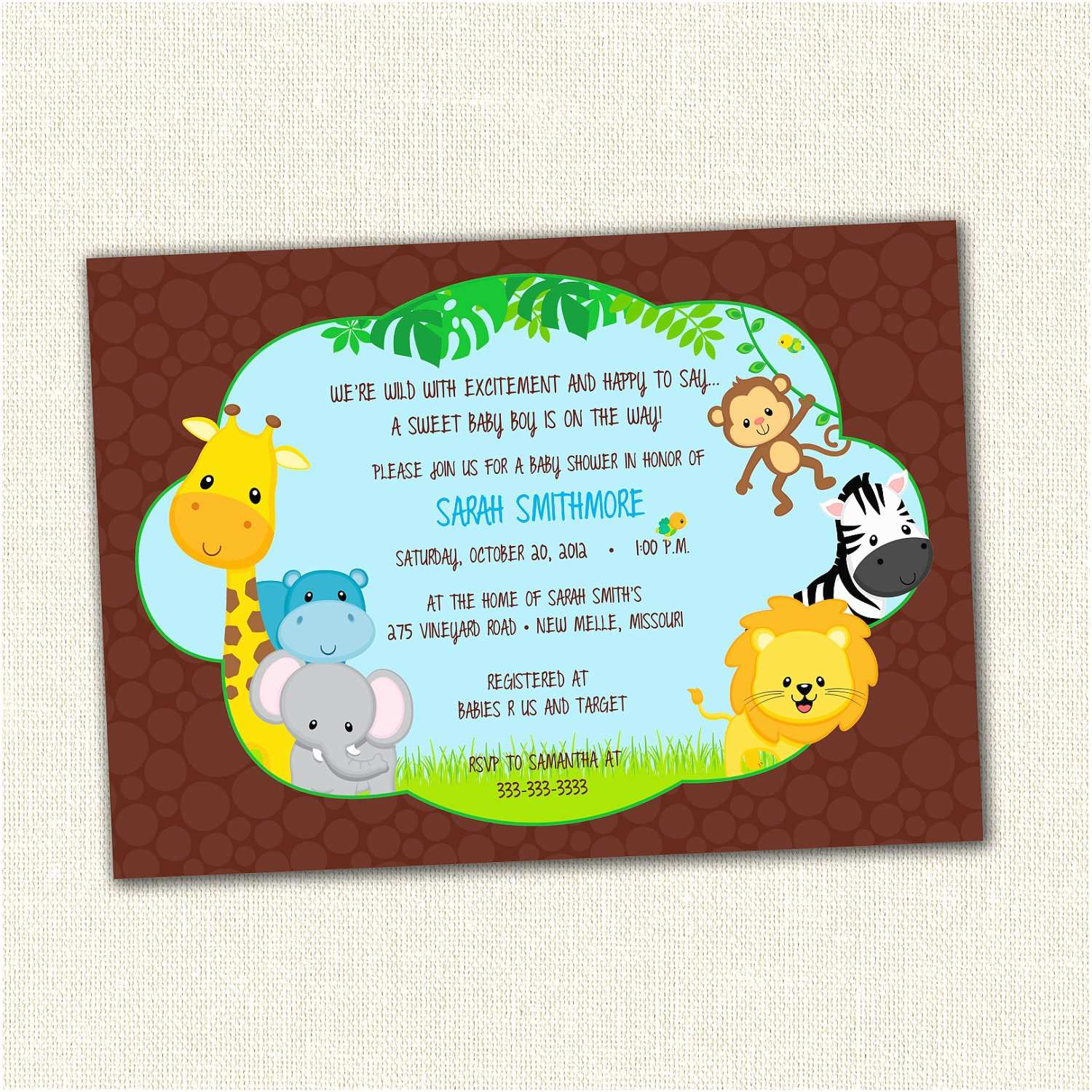 Jungle themed Baby Shower Invitations New Jungle theme Baby Shower Invitation