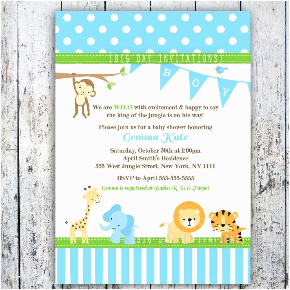 Jungle themed Baby Shower Invitations Safari Baby Shower Invitations Jungle Animal theme Printable