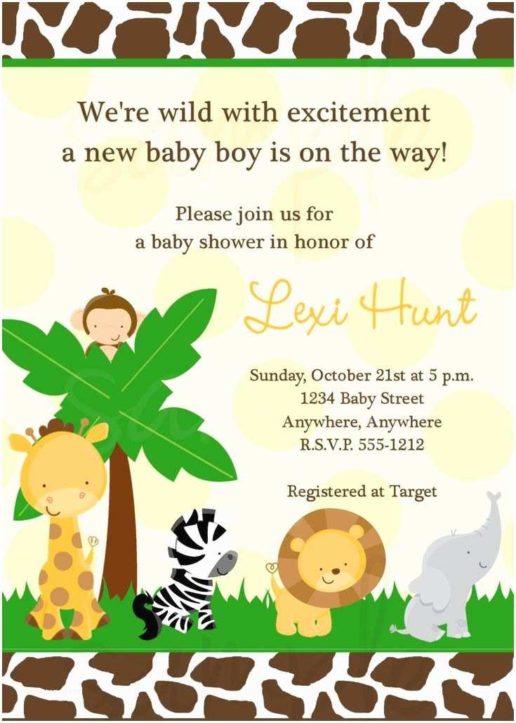 Jungle themed Baby Shower Invitations Safari Jungle Baby Shower Invitation