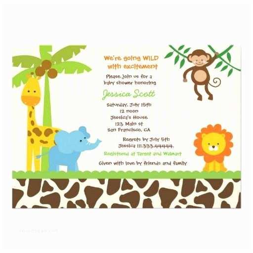 Jungle themed Baby Shower Invitations Safari Jungle Zoo Baby Shower Invitations