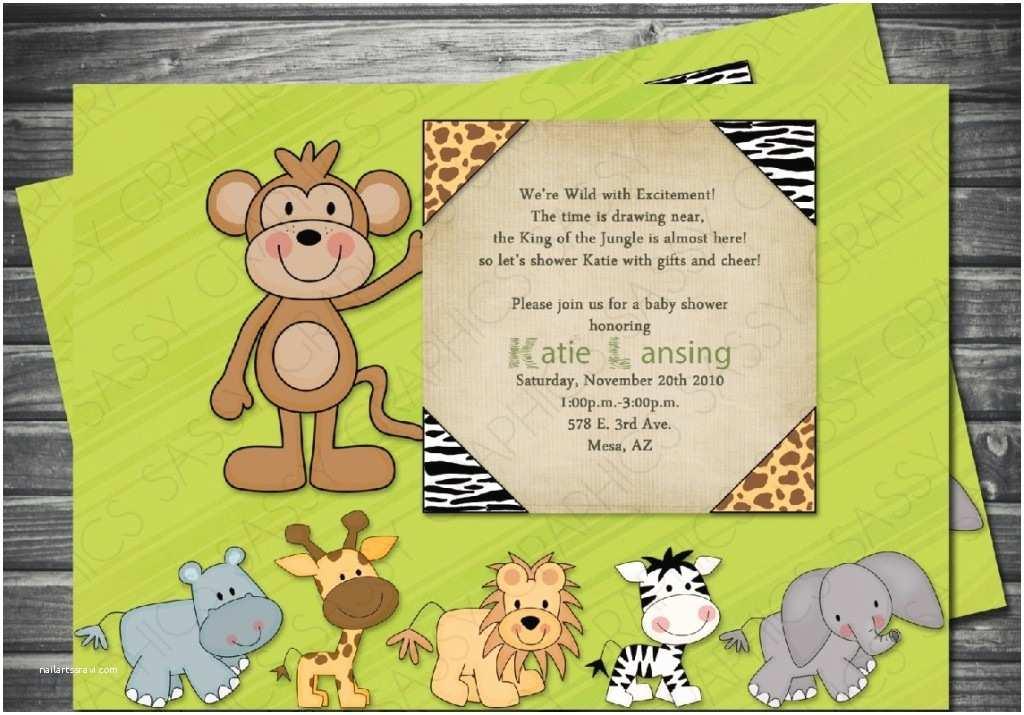 Jungle themed Baby Shower Invitations Safari theme Baby Shower Invitations