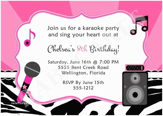 Karaoke Party Invitations 17 Best Images About Karaoke Birthday Party On Pinterest