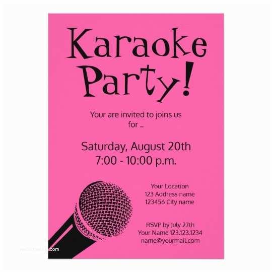 Karaoke Party Invitations Custom Karaoke Party Invitations with Microphone