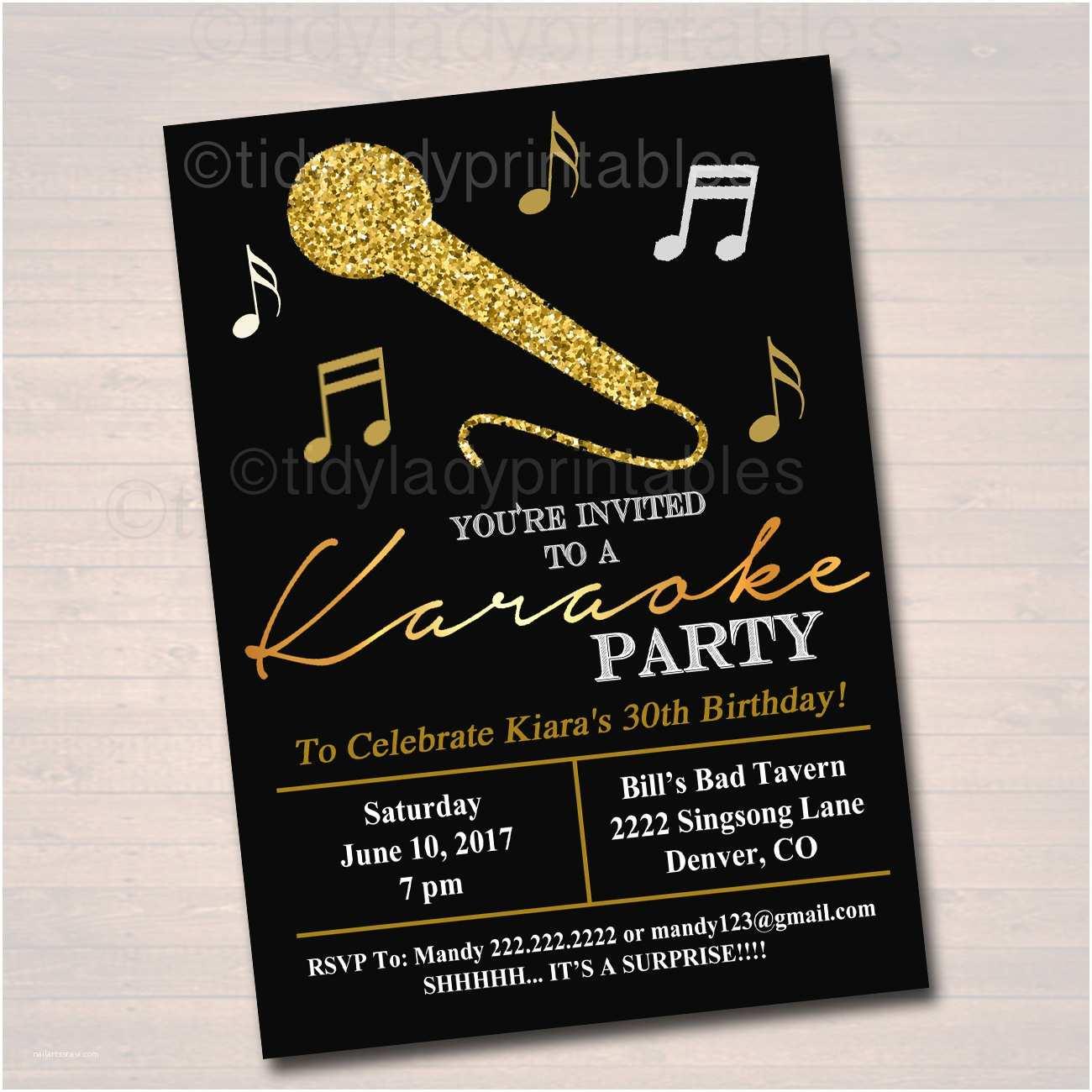 Karaoke Party S Editable Adult Karaoke Party  Birthday