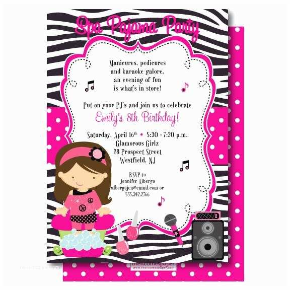 Karaoke Party Invitations Karaoke Birthday Invitation Pampering Pajama Birthday