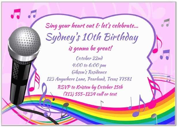 Karaoke Party Invitations Karaoke Birthday Party Invitations