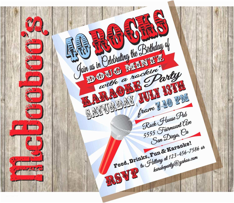 Karaoke Party Invitations Karaoke Birthday Party Poster Invitation