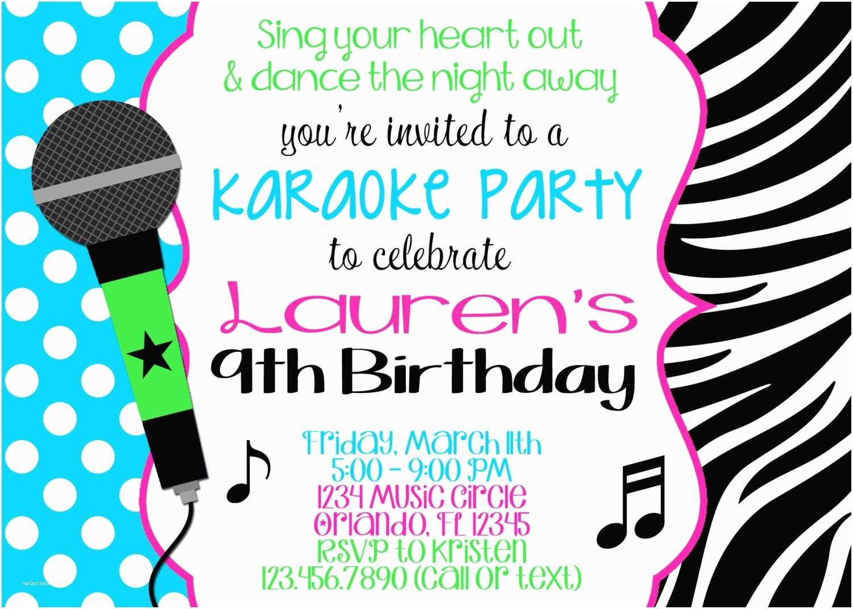 Karaoke Party Invitations Karaoke Girl 5x7 Birthday Invitation