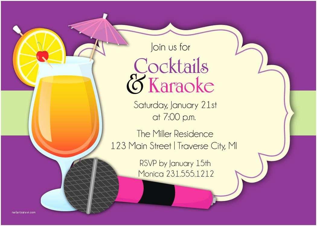 Karaoke Party Invitations Karaoke Invitation Cocktails & Karaoke Party Invite
