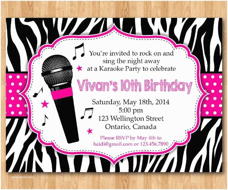 Karaoke  Invitations Karaoke  Invitation Girl Karaoka Birthday Rockstar