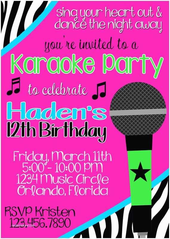 Karaoke Party Invitations Karaoke Party Invitation
