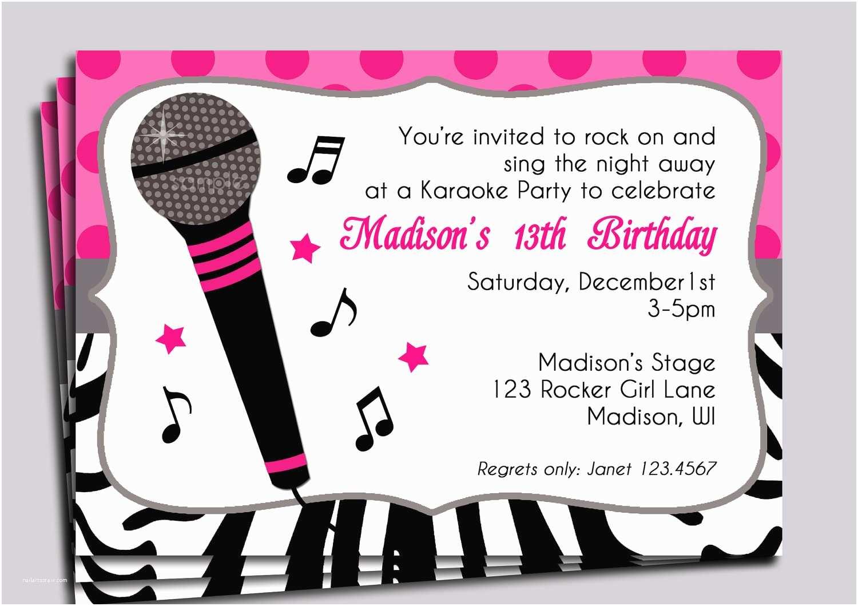 Karaoke Party Invitations Karaoke Party Invitation Wording