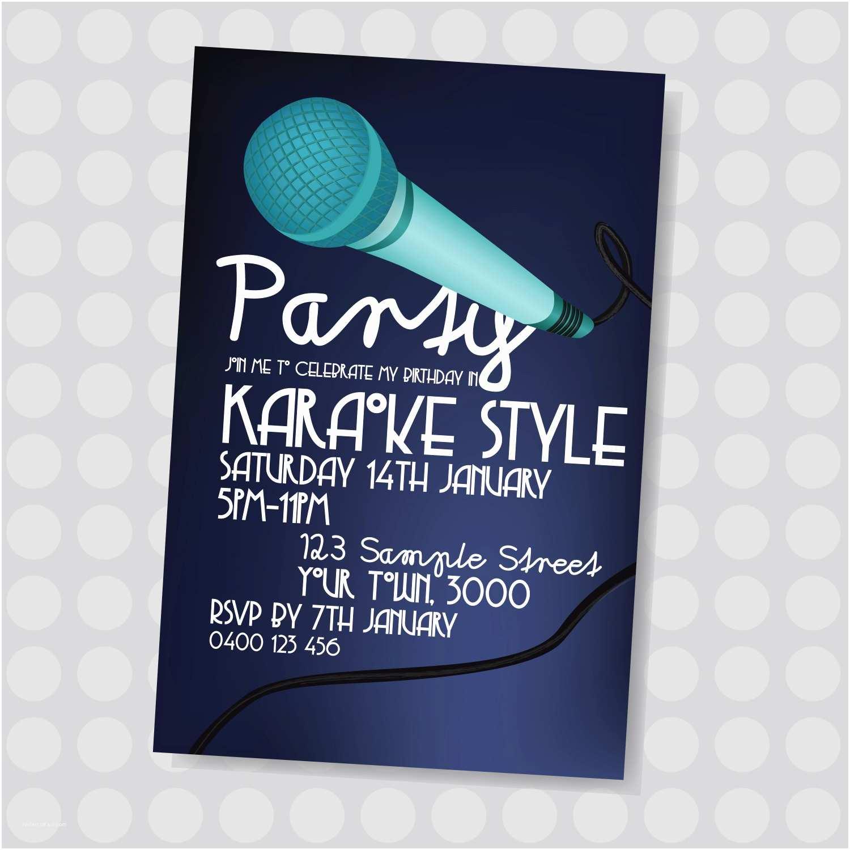 Karaoke Party Invitations Karaoke Party Singing Dancing Microphone Karaoke