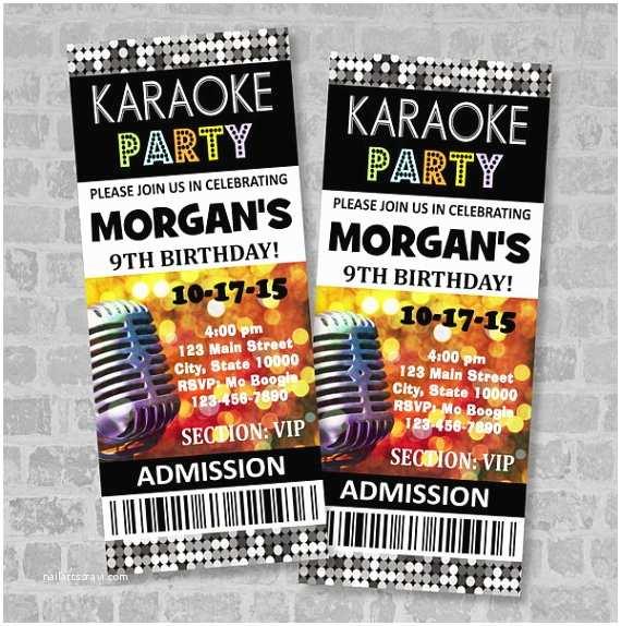 Karaoke Party Invitations Printed Karaoke Birthday Party Ticket Invitation Custom