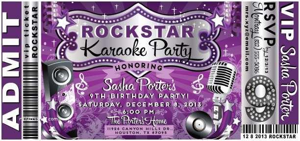 Karaoke Party Invitations Vip Rock Star Karaoke Birthday Invitation [di 8015